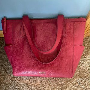 Fossil Red Pebbled Leather Tote Bag